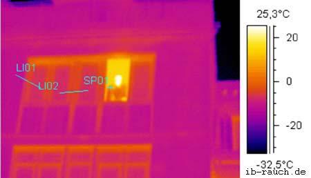 IR-Aufnahme einer Fassade