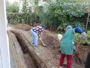 Schachtarbeiten Abwasserleitung