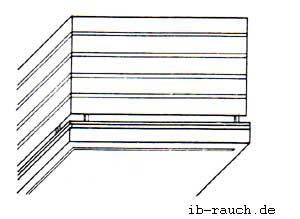 Balkon mit waagerechten Holzschalbrettern